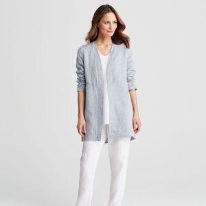 Eileen Fisher | Blue Linen Bracelet-Sleeve Jacket
